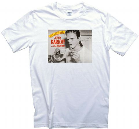 Boris Karloff Drinking Tea Frankenstein Movie T-Shirt. Monster Film. Adults, Ladies & Kids Sizes